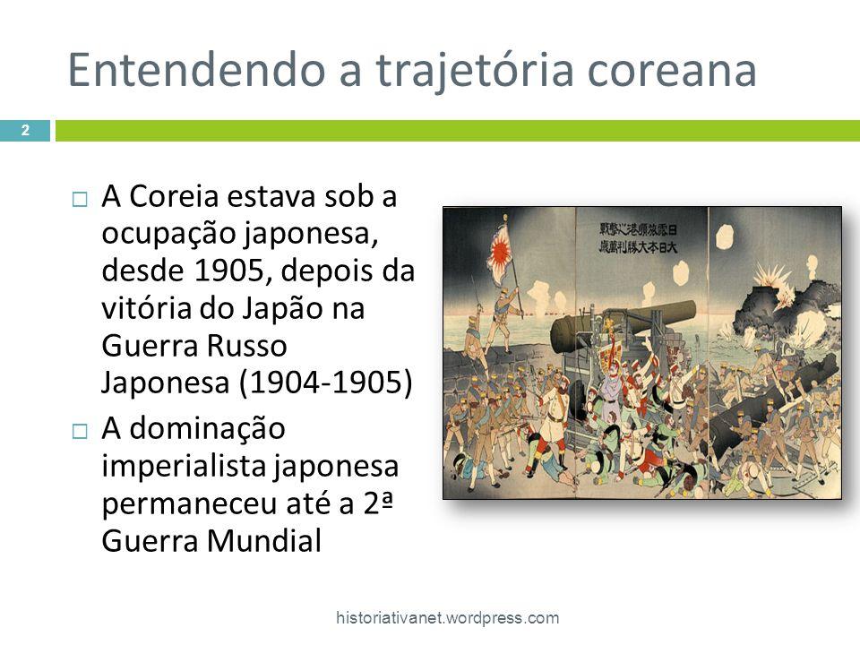 Entendendo a trajetória coreana historiativanet.wordpress.com 2  A Coreia estava sob a ocupação japonesa, desde 1905, depois da vitória do Japão na Guerra Russo Japonesa (1904-1905)  A dominação imperialista japonesa permaneceu até a 2ª Guerra Mundial