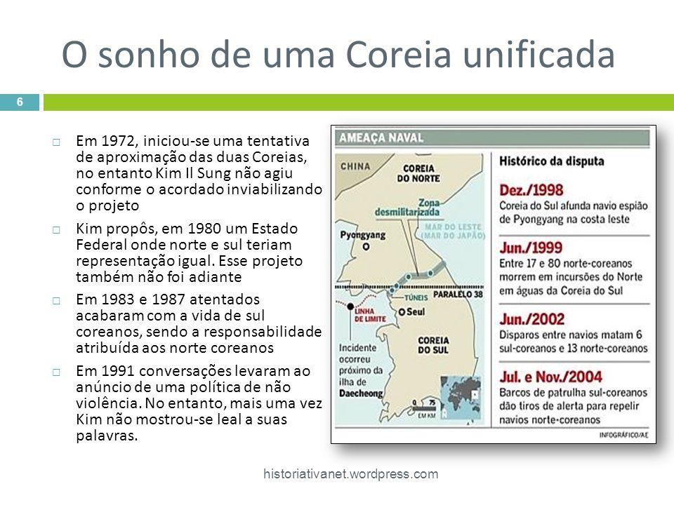 O sonho de uma Coreia unificada  Em 1972, iniciou-se uma tentativa de aproximação das duas Coreias, no entanto Kim Il Sung não agiu conforme o acordado inviabilizando o projeto  Kim propôs, em 1980 um Estado Federal onde norte e sul teriam representação igual.