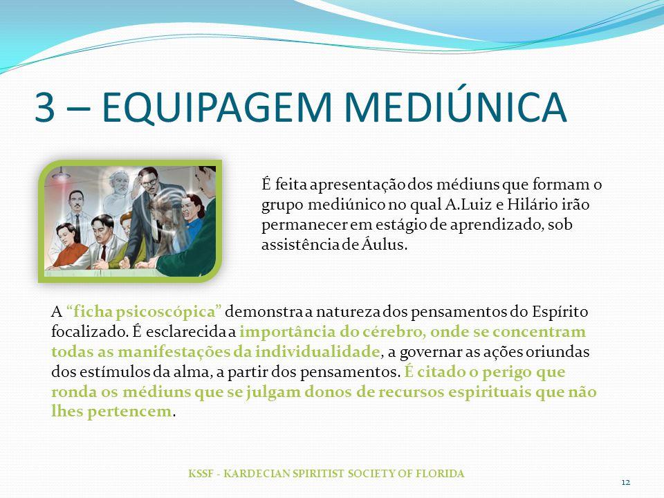 3 – EQUIPAGEM MEDIÚNICA KSSF - KARDECIAN SPIRITIST SOCIETY OF FLORIDA 12 É feita apresentação dos médiuns que formam o grupo mediúnico no qual A.Luiz