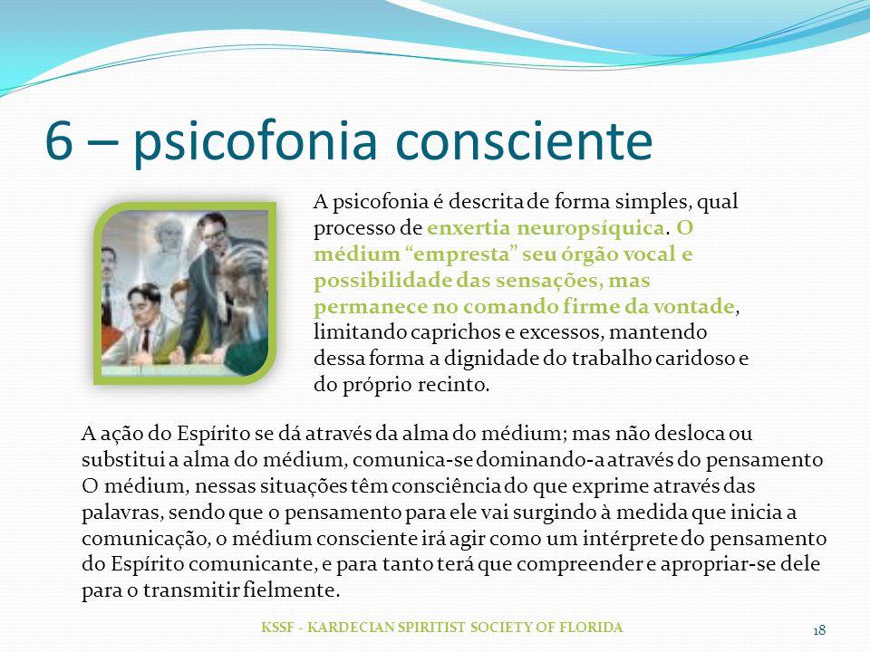 6 – psicofonia consciente KSSF - KARDECIAN SPIRITIST SOCIETY OF FLORIDA 18 A psicofonia é descrita de forma simples, qual processo de enxertia neurops