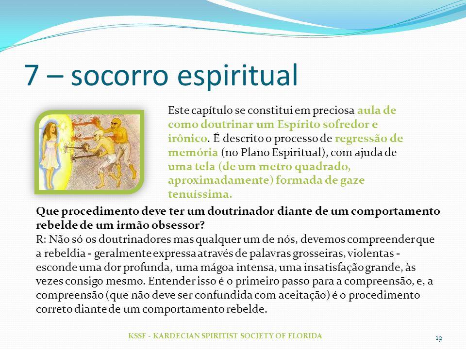 7 – socorro espiritual KSSF - KARDECIAN SPIRITIST SOCIETY OF FLORIDA 19 Este capítulo se constitui em preciosa aula de como doutrinar um Espírito sofr