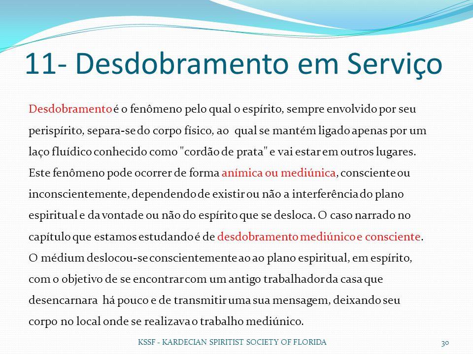 11- Desdobramento em Serviço KSSF - KARDECIAN SPIRITIST SOCIETY OF FLORIDA 30 Desdobramento é o fenômeno pelo qual o espírito, sempre envolvido por se