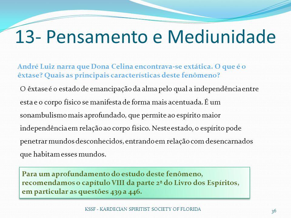 13- Pensamento e Mediunidade KSSF - KARDECIAN SPIRITIST SOCIETY OF FLORIDA 36 André Luiz narra que Dona Celina encontrava-se extática. O que é o êxtas