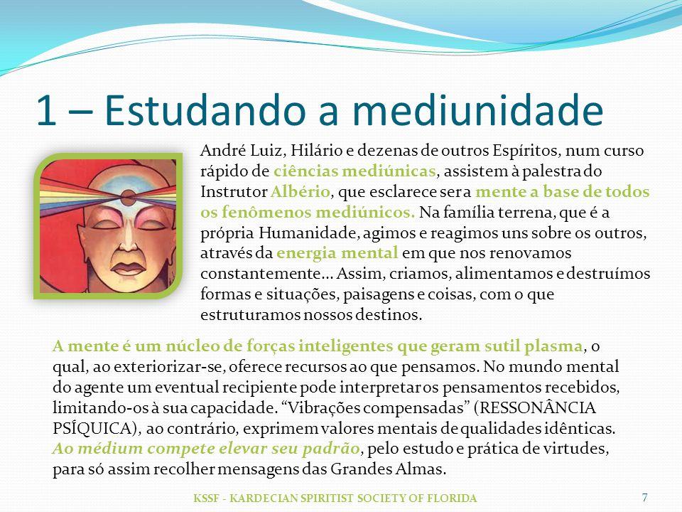 1 – Estudando a mediunidade KSSF - KARDECIAN SPIRITIST SOCIETY OF FLORIDA 7 André Luiz, Hilário e dezenas de outros Espíritos, num curso rápido de ciê
