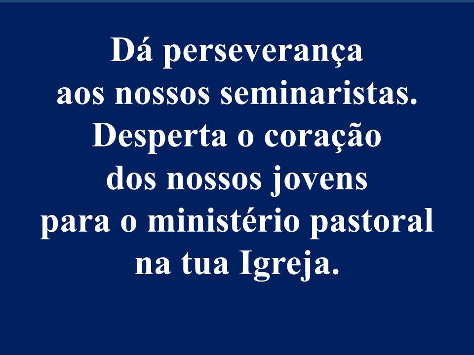Dá perseverança aos nossos seminaristas. Desperta o coração dos nossos jovens para o ministério pastoral na tua Igreja.
