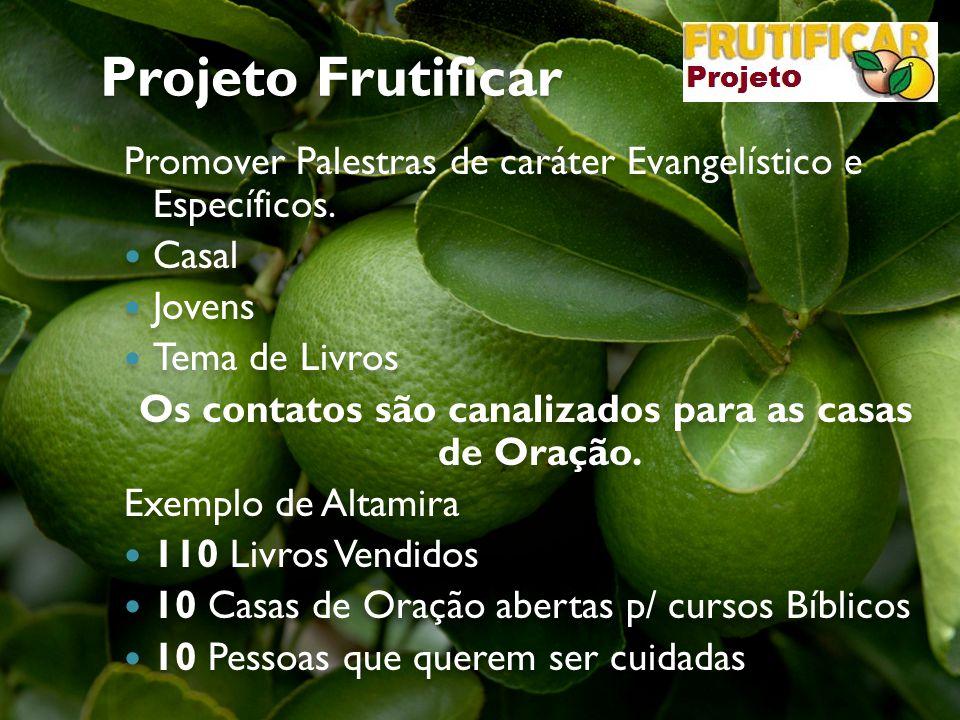 Projeto Frutificar Promover Palestras de caráter Evangelístico e Específicos. Casal Jovens Tema de Livros Os contatos são canalizados para as casas de