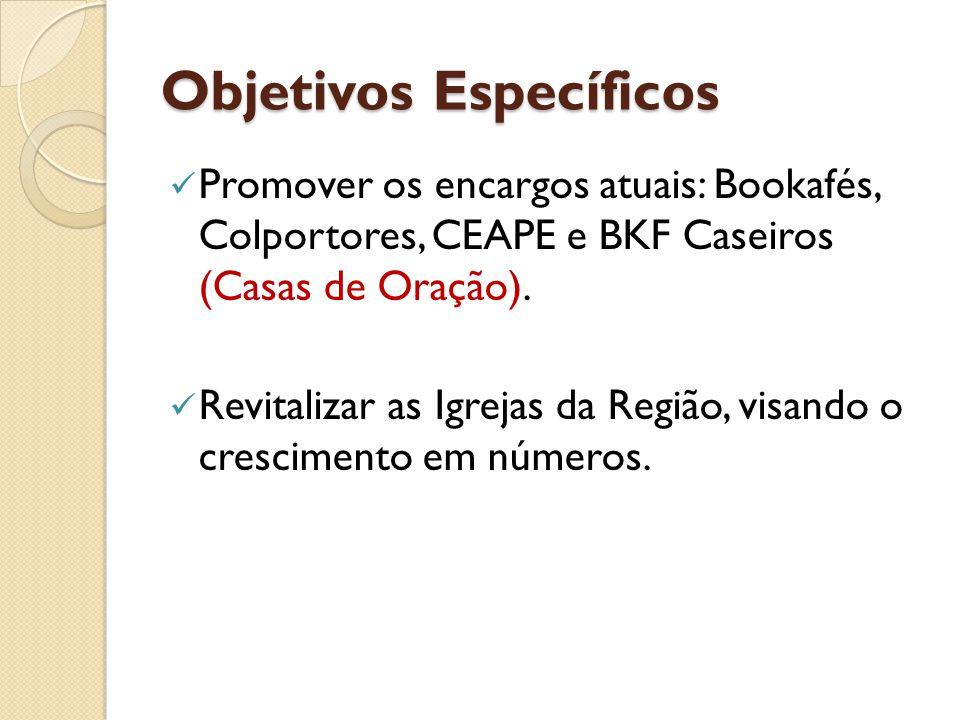 Objetivos Específicos Promover os encargos atuais: Bookafés, Colportores, CEAPE e BKF Caseiros (Casas de Oração). Revitalizar as Igrejas da Região, vi
