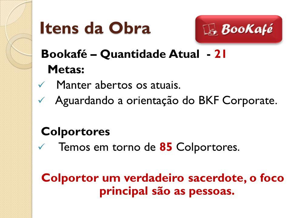 Itens da Obra Bookafé – Quantidade Atual - 21 Metas: Manter abertos os atuais. Aguardando a orientação do BKF Corporate. Colportores Temos em torno de