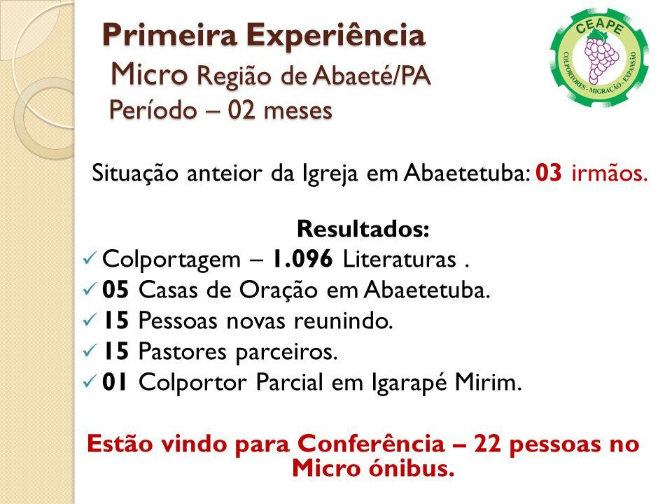 Primeira Experiência Micro Região de Abaeté/PA Período – 02 meses Resultados: Colportagem – 1.096 Literaturas. 05 Casas de Oração em Abaetetuba. 15 Pe