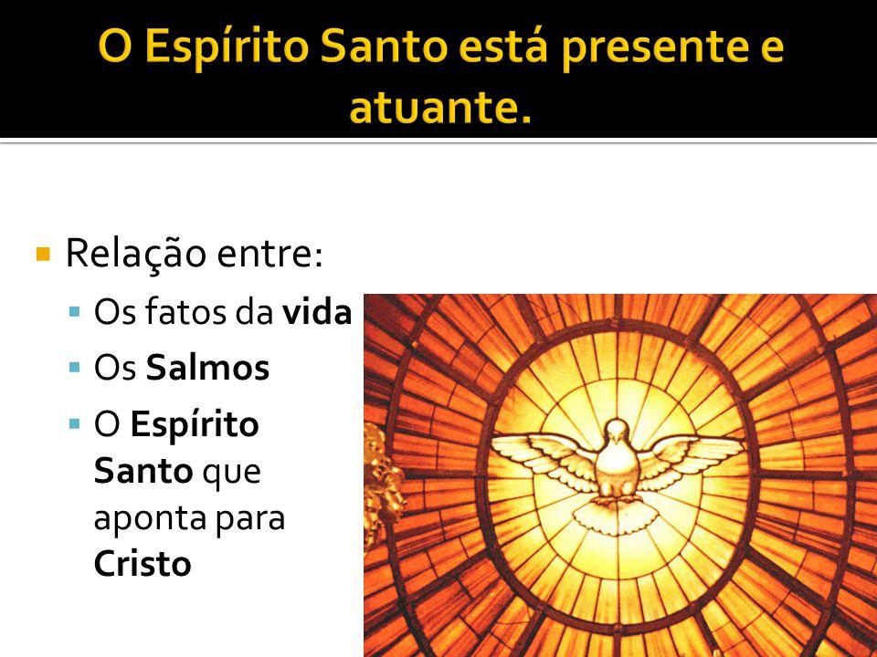  Relação entre:  Os fatos da vida  Os Salmos  O Espírito Santo que aponta para Cristo