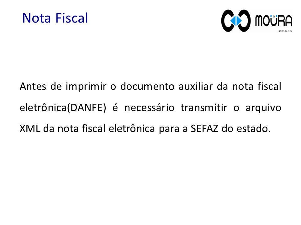 Antes de imprimir o documento auxiliar da nota fiscal eletrônica(DANFE) é necessário transmitir o arquivo XML da nota fiscal eletrônica para a SEFAZ do estado.