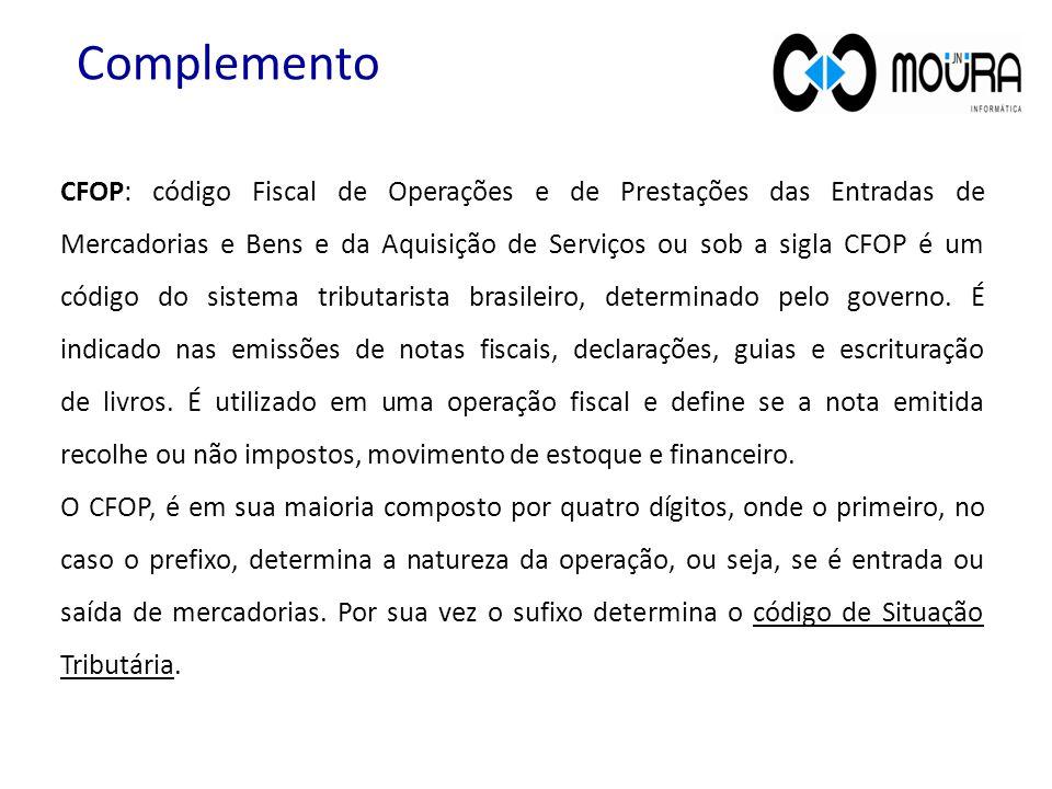 CFOP: código Fiscal de Operações e de Prestações das Entradas de Mercadorias e Bens e da Aquisição de Serviços ou sob a sigla CFOP é um código do sistema tributarista brasileiro, determinado pelo governo.