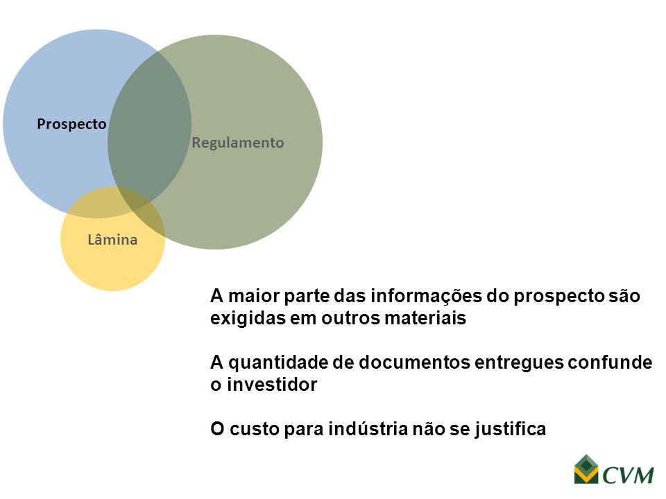 Prospecto A maior parte das informações do prospecto são exigidas em outros materiais A quantidade de documentos entregues confunde o investidor O cus