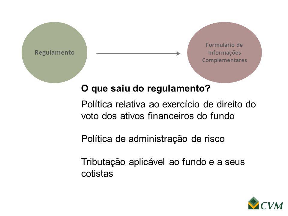 Regulamento Política relativa ao exercício de direito do voto dos ativos financeiros do fundo Política de administração de risco Tributação aplicável