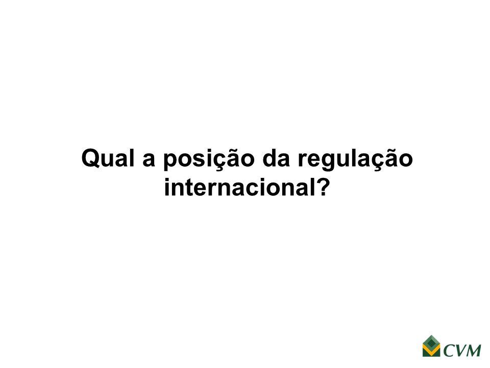 Qual a posição da regulação internacional?