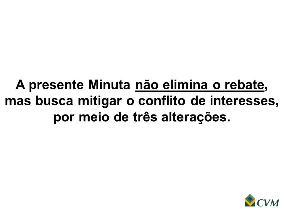 A presente Minuta não elimina o rebate, mas busca mitigar o conflito de interesses, por meio de três alterações.