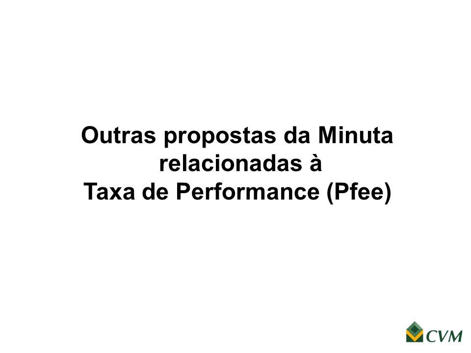 Outras propostas da Minuta relacionadas à Taxa de Performance (Pfee)
