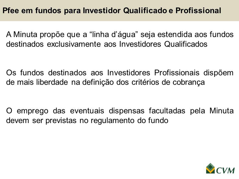 """A Minuta propõe que a """"linha d'água"""" seja estendida aos fundos destinados exclusivamente aos Investidores Qualificados Os fundos destinados aos Invest"""