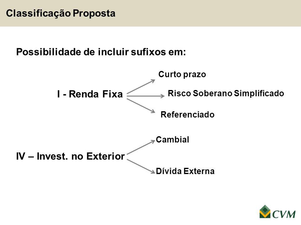 Classificação Proposta Possibilidade de incluir sufixos em: I - Renda Fixa IV – Invest. no Exterior Curto prazo Referenciado Cambial Dívida Externa Ri