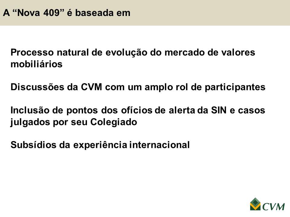 """A """"Nova 409"""" é baseada em Processo natural de evolução do mercado de valores mobiliários Discussões da CVM com um amplo rol de participantes Inclusão"""