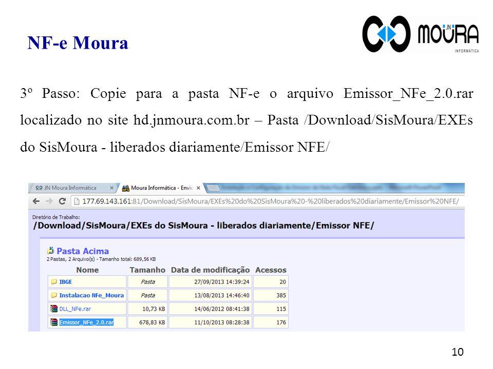 3º Passo: Copie para a pasta NF-e o arquivo Emissor_NFe_2.0.rar localizado no site hd.jnmoura.com.br – Pasta /Download/SisMoura/EXEs do SisMoura - lib