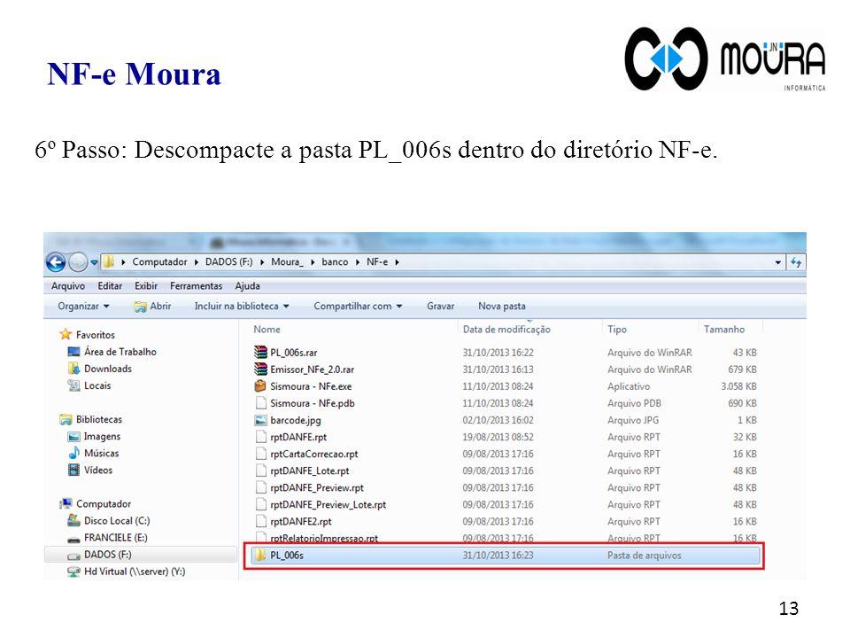 13 6º Passo: Descompacte a pasta PL_006s dentro do diretório NF-e. NF-e Moura