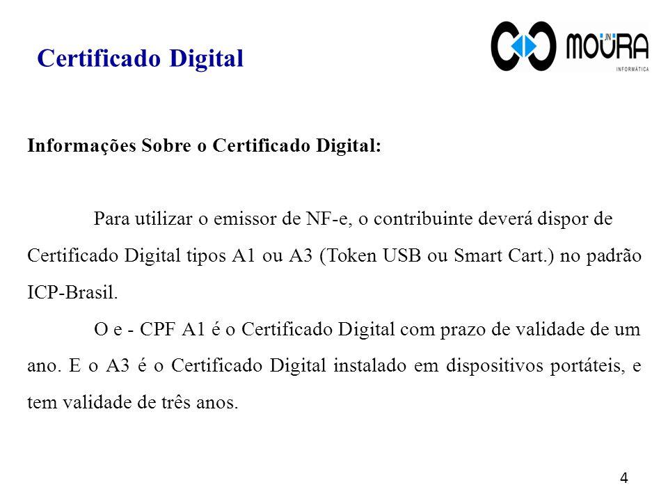 Informações Sobre o Certificado Digital: Para utilizar o emissor de NF-e, o contribuinte deverá dispor de Certificado Digital tipos A1 ou A3 (Token US