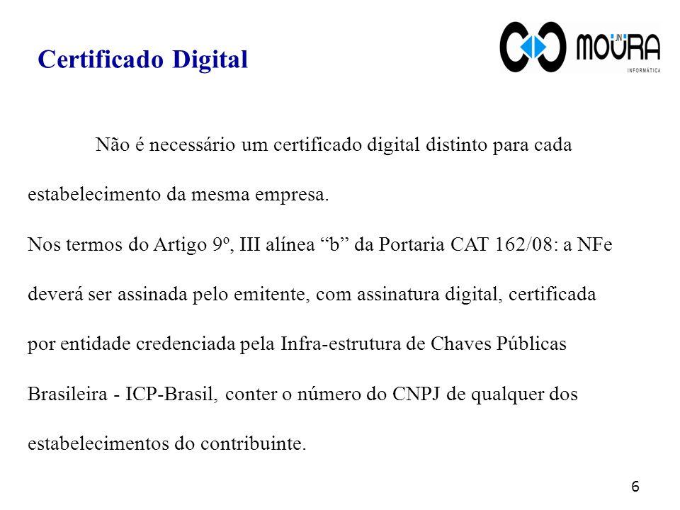 """Não é necessário um certificado digital distinto para cada estabelecimento da mesma empresa. Nos termos do Artigo 9º, III alínea """"b"""" da Portaria CAT 1"""