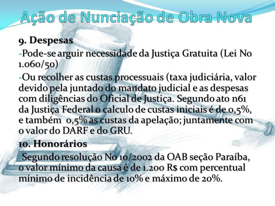 9. Despesas - Pode-se arguir necessidade da Justiça Gratuita (Lei No 1.060/50) - Ou recolher as custas processuais (taxa judiciária, valor devido pela