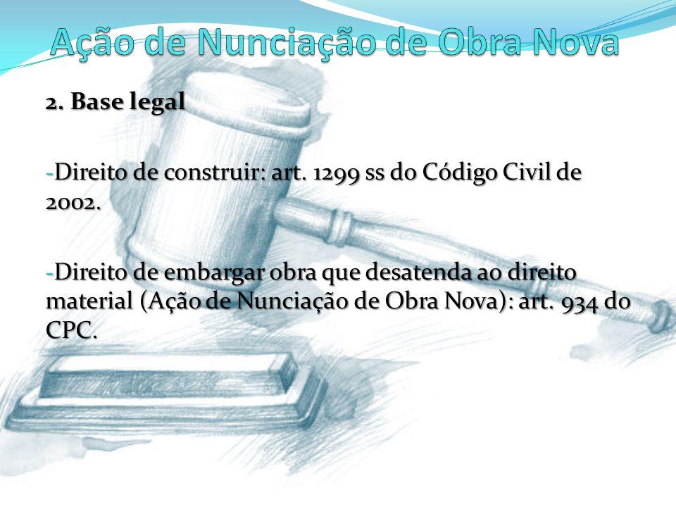 2. Base legal - Direito de construir: art. 1299 ss do Código Civil de 2002. - Direito de embargar obra que desatenda ao direito material (Ação de Nunc