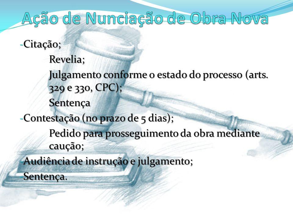 - Citação; Revelia; Julgamento conforme o estado do processo (arts. 329 e 330, CPC); Sentença - Contestação (no prazo de 5 dias); Pedido para prossegu