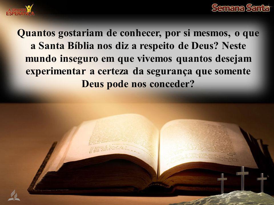 Quantos gostariam de conhecer, por si mesmos, o que a Santa Bíblia nos diz a respeito de Deus? Neste mundo inseguro em que vivemos quantos desejam exp
