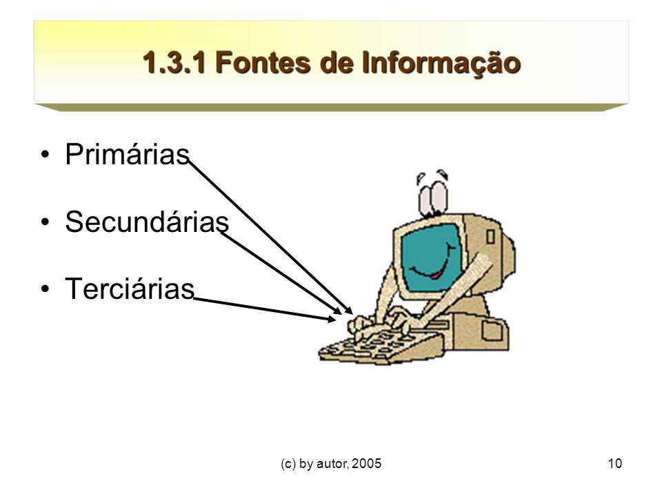 (c) by autor, 200510 1.3.1 Fontes de Informação Primárias Secundárias Terciárias