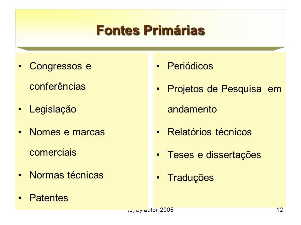 (c) by autor, 200512 Congressos e conferências Legislação Nomes e marcas comerciais Normas técnicas Patentes Periódicos Projetos de Pesquisa em andamento Relatórios técnicos Teses e dissertações Traduções Fontes Primárias