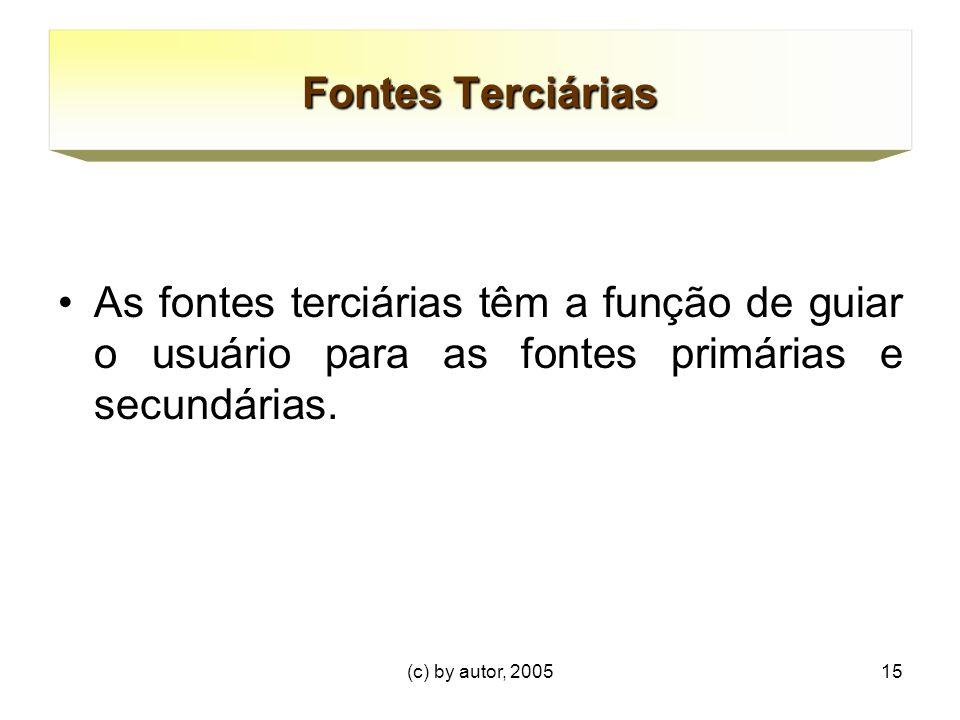 (c) by autor, 200515 Fontes Terciárias As fontes terciárias têm a função de guiar o usuário para as fontes primárias e secundárias.