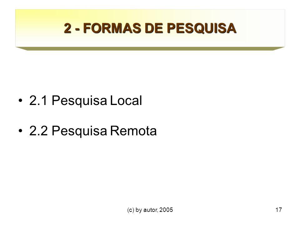 (c) by autor, 200517 2 - FORMAS DE PESQUISA 2.1 Pesquisa Local 2.2 Pesquisa Remota