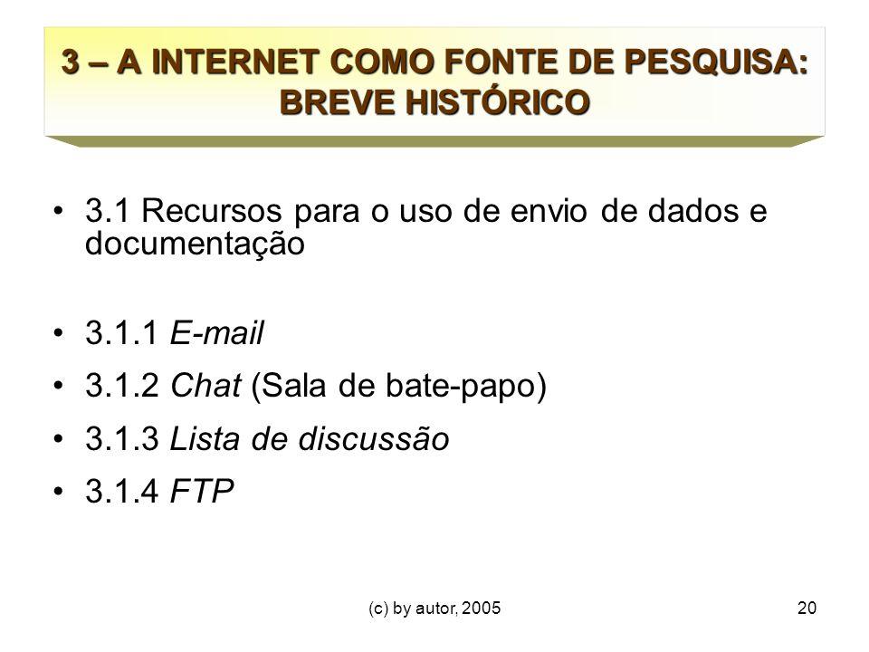 (c) by autor, 200520 3 – A INTERNET COMO FONTE DE PESQUISA: BREVE HISTÓRICO 3.1 Recursos para o uso de envio de dados e documentação 3.1.1 E-mail 3.1.2 Chat (Sala de bate-papo) 3.1.3 Lista de discussão 3.1.4 FTP