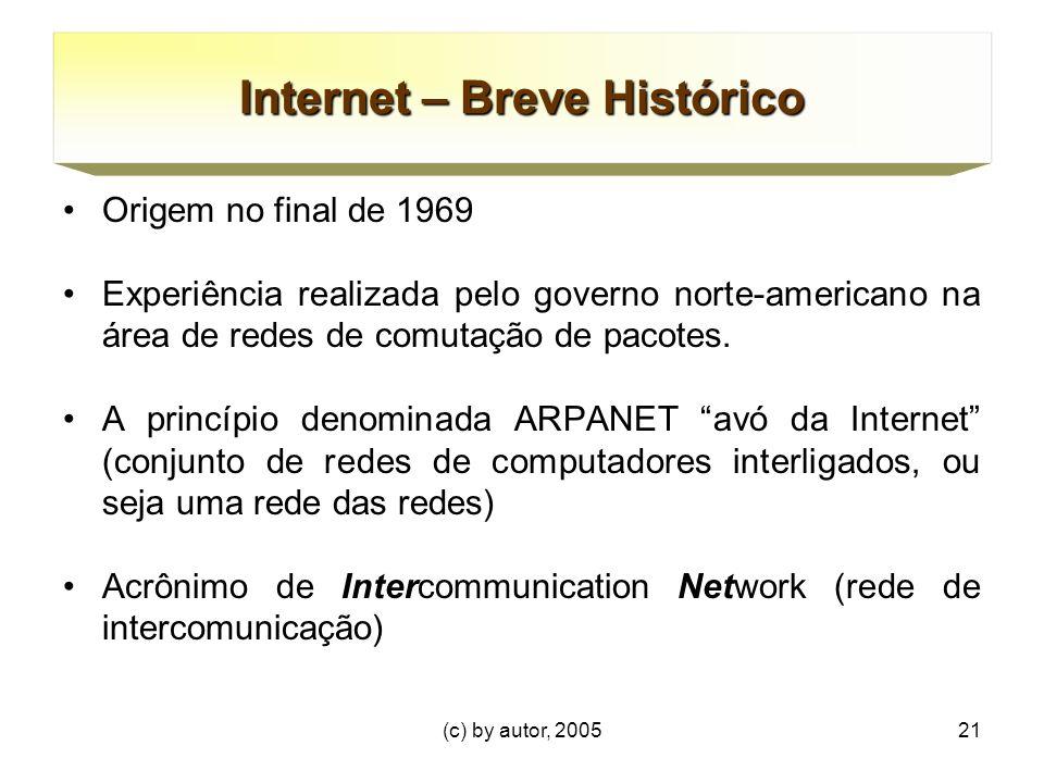 (c) by autor, 200521 Internet – Breve Histórico Origem no final de 1969 Experiência realizada pelo governo norte-americano na área de redes de comutação de pacotes.