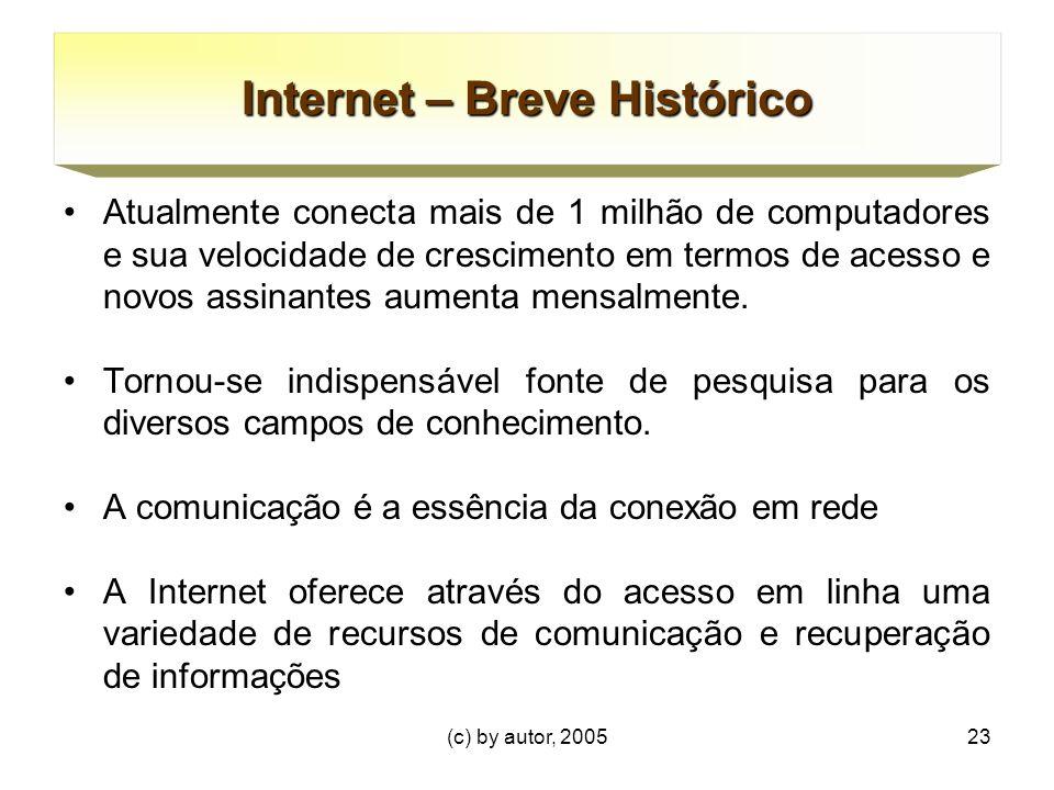 (c) by autor, 200523 Internet – Breve Histórico Atualmente conecta mais de 1 milhão de computadores e sua velocidade de crescimento em termos de acesso e novos assinantes aumenta mensalmente.