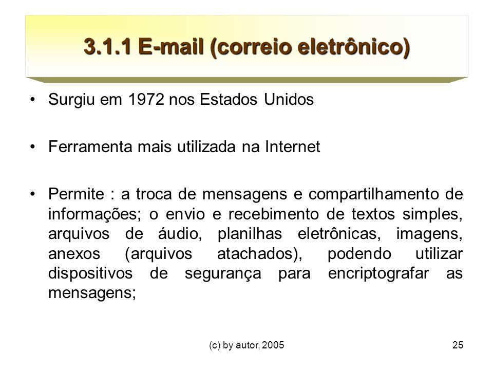 (c) by autor, 200525 3.1.1 E-mail (correio eletrônico) Surgiu em 1972 nos Estados Unidos Ferramenta mais utilizada na Internet Permite : a troca de mensagens e compartilhamento de informações; o envio e recebimento de textos simples, arquivos de áudio, planilhas eletrônicas, imagens, anexos (arquivos atachados), podendo utilizar dispositivos de segurança para encriptografar as mensagens;
