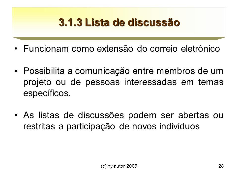 (c) by autor, 200528 3.1.3 Lista de discussão Funcionam como extensão do correio eletrônico Possibilita a comunicação entre membros de um projeto ou de pessoas interessadas em temas específicos.