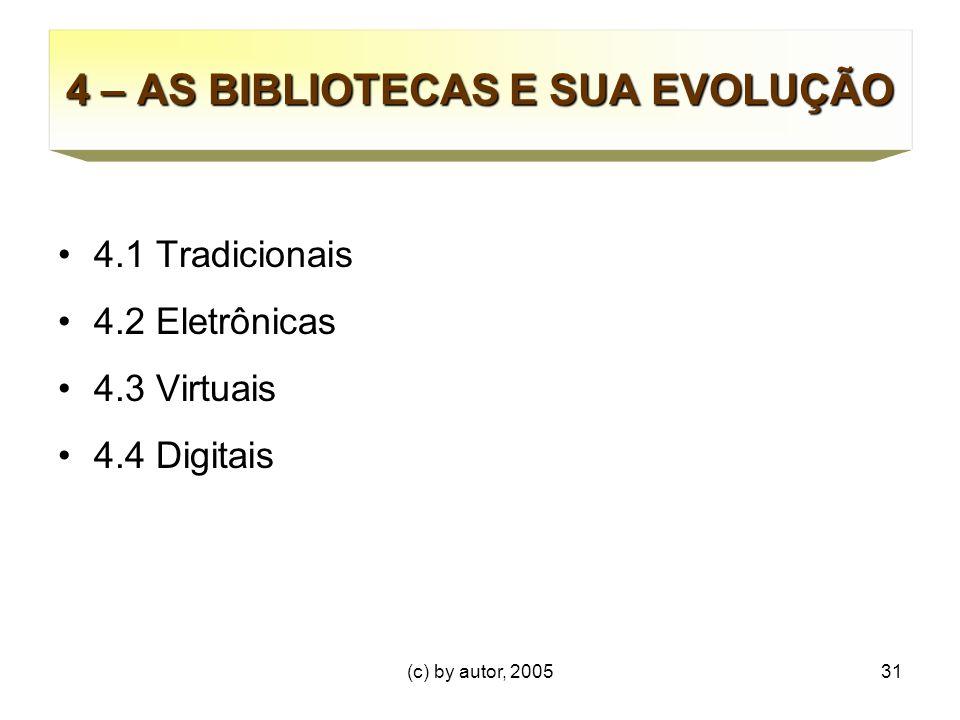 (c) by autor, 200531 4 – AS BIBLIOTECAS E SUA EVOLUÇÃO 4.1 Tradicionais 4.2 Eletrônicas 4.3 Virtuais 4.4 Digitais