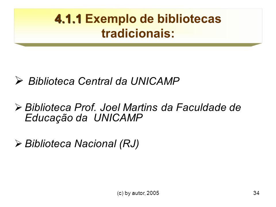 (c) by autor, 200534 4.1.1 4.1.1 Exemplo de bibliotecas tradicionais:  Biblioteca Central da UNICAMP  Biblioteca Prof.