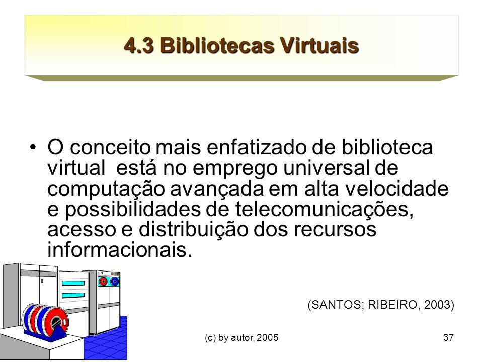 (c) by autor, 200537 4.3 Bibliotecas Virtuais O conceito mais enfatizado de biblioteca virtual está no emprego universal de computação avançada em alta velocidade e possibilidades de telecomunicações, acesso e distribuição dos recursos informacionais.