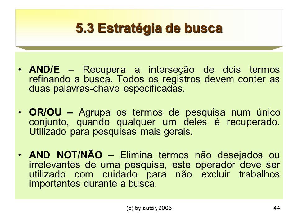 (c) by autor, 200544 5.3 Estratégia de busca AND/E – Recupera a interseção de dois termos refinando a busca.