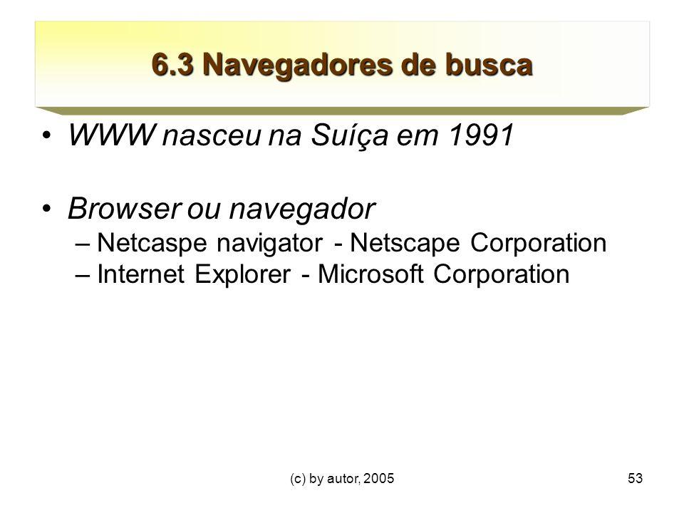 (c) by autor, 200553 6.3 Navegadores de busca WWW nasceu na Suíça em 1991 Browser ou navegador –Netcaspe navigator - Netscape Corporation –Internet Explorer - Microsoft Corporation
