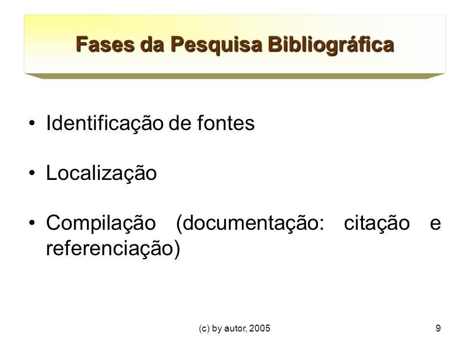 (c) by autor, 20059 Fases da Pesquisa Bibliográfica Identificação de fontes Localização Compilação (documentação: citação e referenciação)