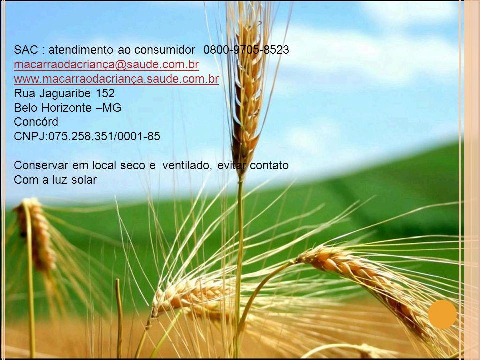 SAC : atendimento ao consumidor 0800-9705-8523 macarraodacriança@saude.com.br www.macarraodacriança.saude.com.br Rua Jaguaribe 152 Belo Horizonte –MG