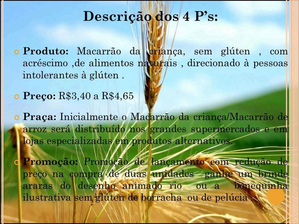 Descrição dos 4 P's: Produto: Macarrão da criança, sem glúten, com acréscimo,de alimentos naturais, direcionado à pessoas intolerantes à glúten. Preço