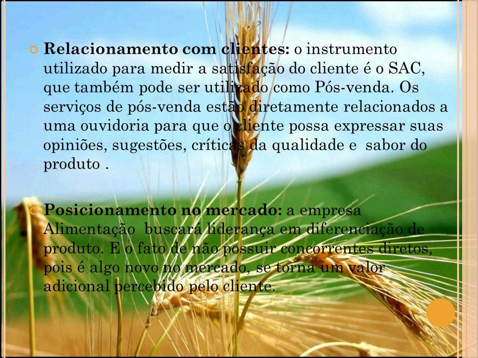 Relacionamento com clientes: o instrumento utilizado para medir a satisfação do cliente é o SAC, que também pode ser utilizado como Pós-venda. Os serv